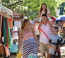 Family shopping at Eumundi Markets, Sunshine Coast