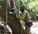 Combat zone in paintball war, Xperiences, Twin Waters, Sunshine Coast.